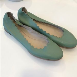 Green scalloped leather Chloe flats